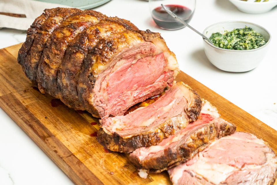 Roast prime rib rib beef au jus