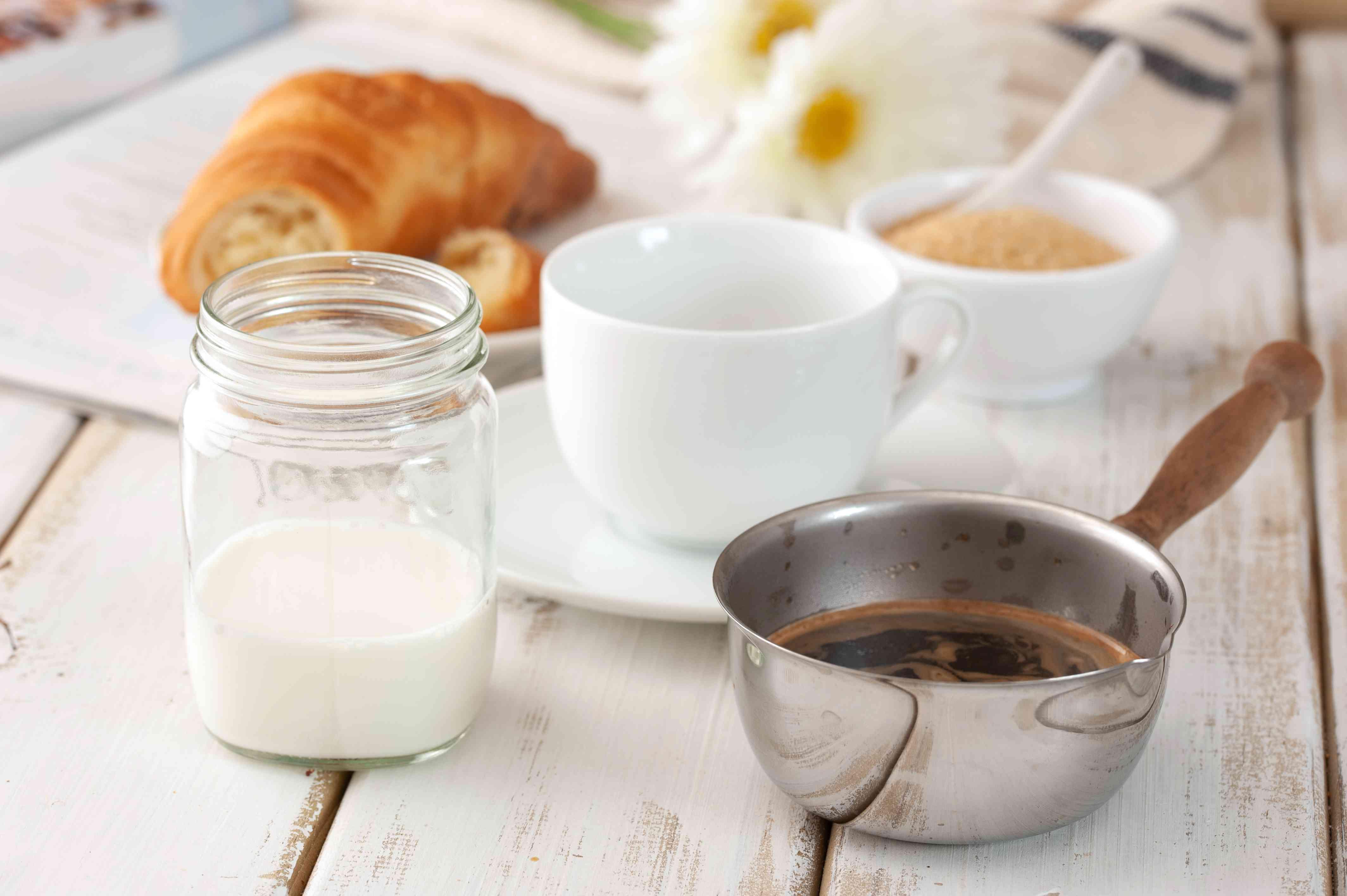 Ingredients for café au lait