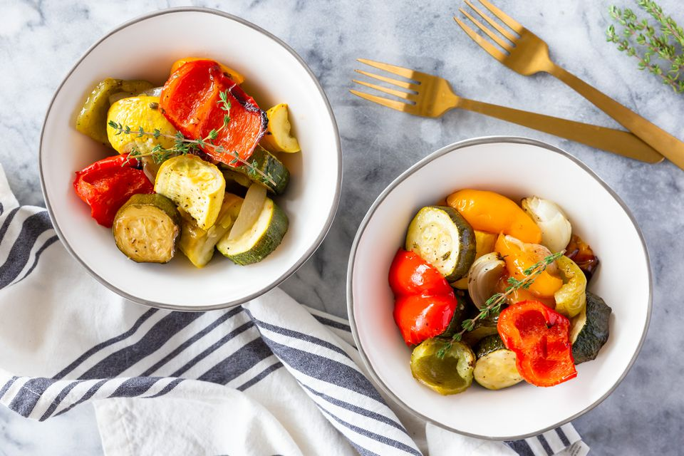 Roasted red peppers and zucchini recipe