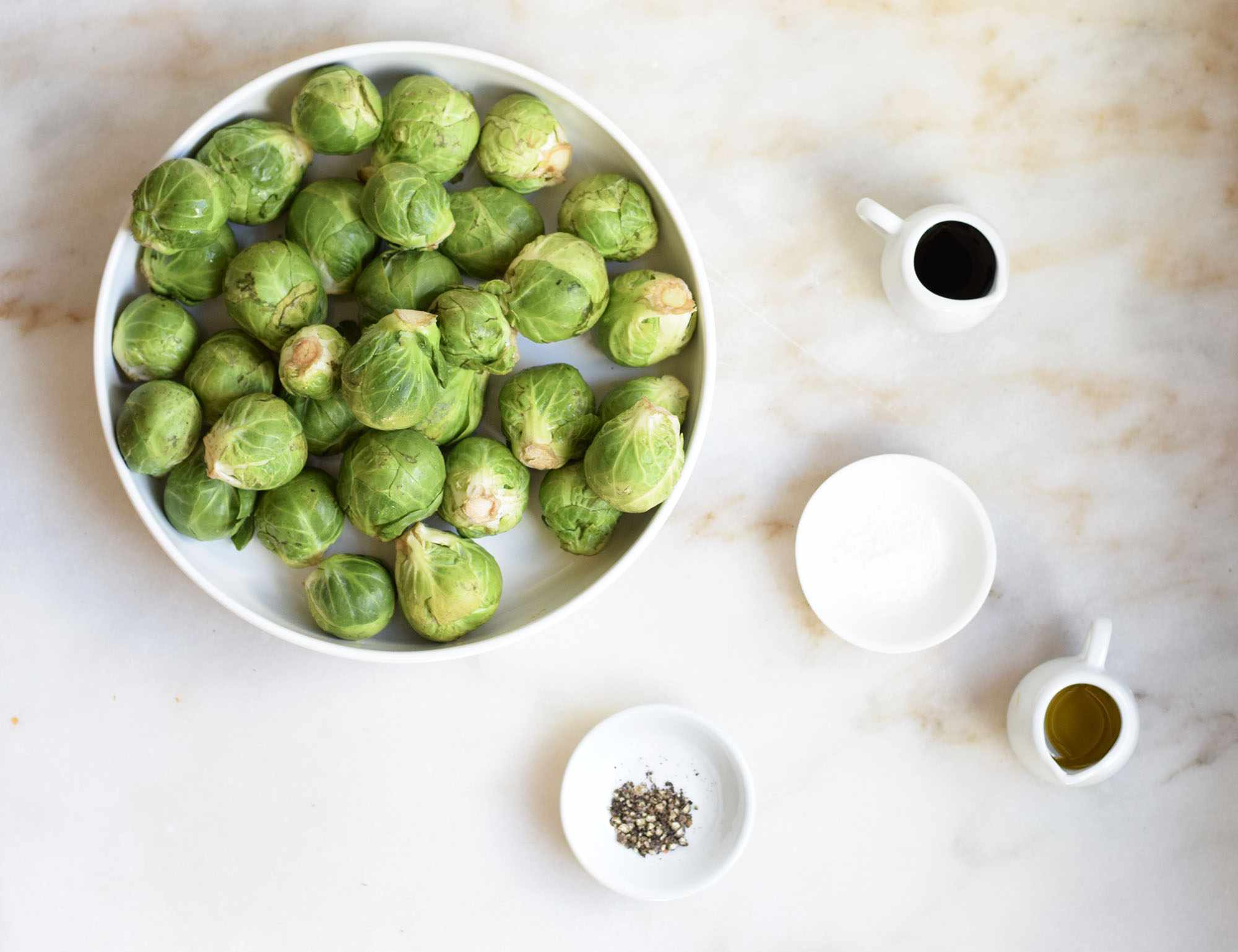 Ingredients for making roasted Brussels sprouts