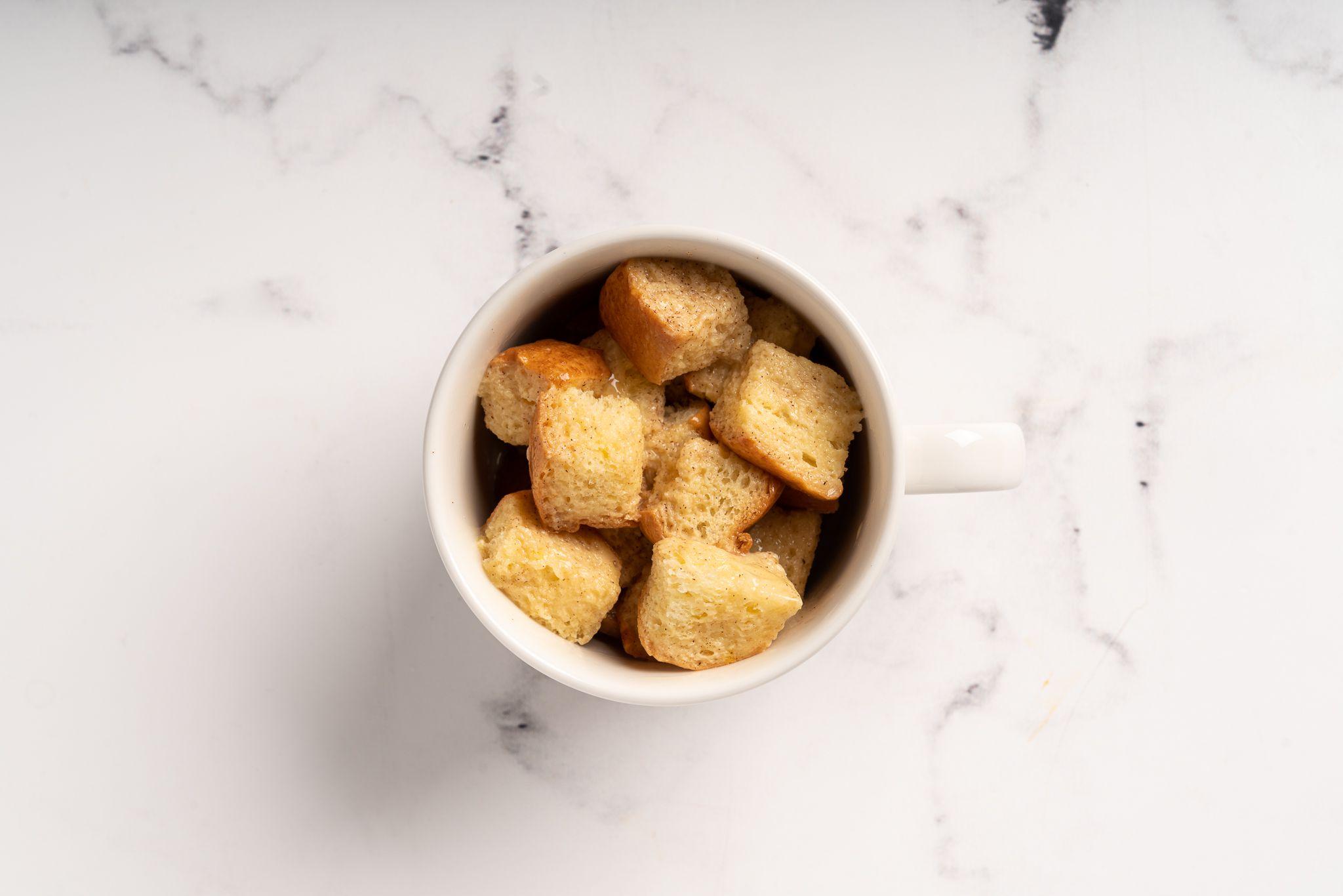 Mug French Toast ready to be microwaved