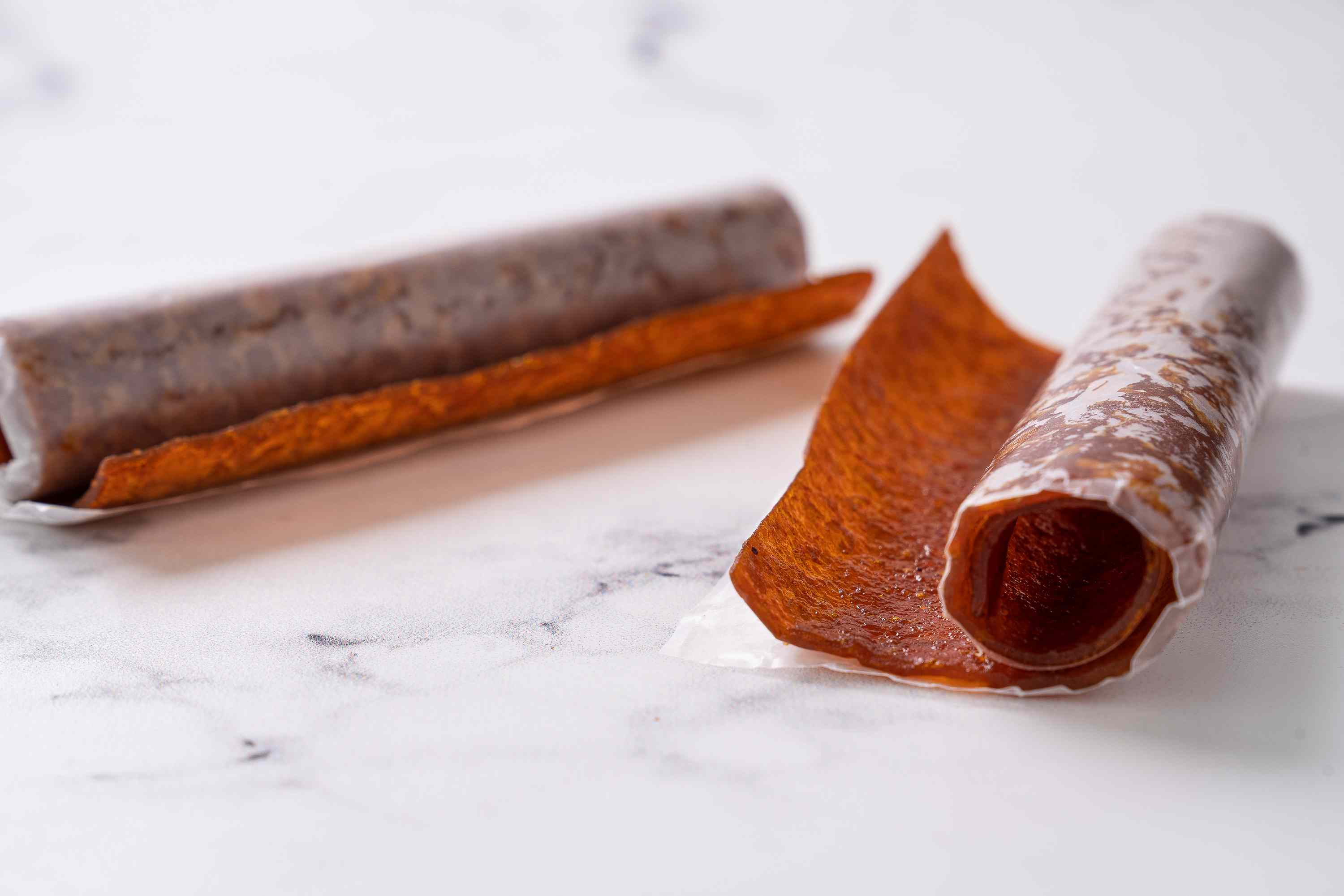 A portion of pumpkin fruit leather