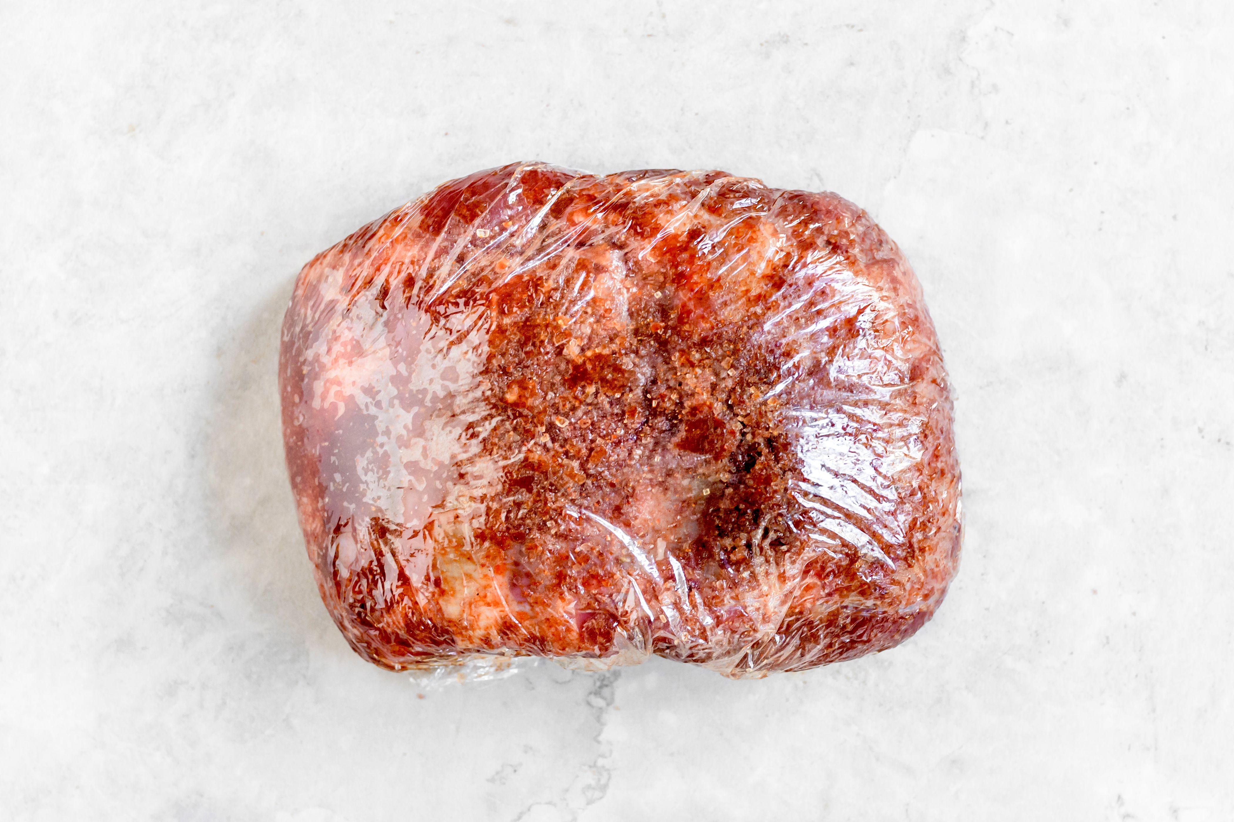 wrap meat in plastic wrap