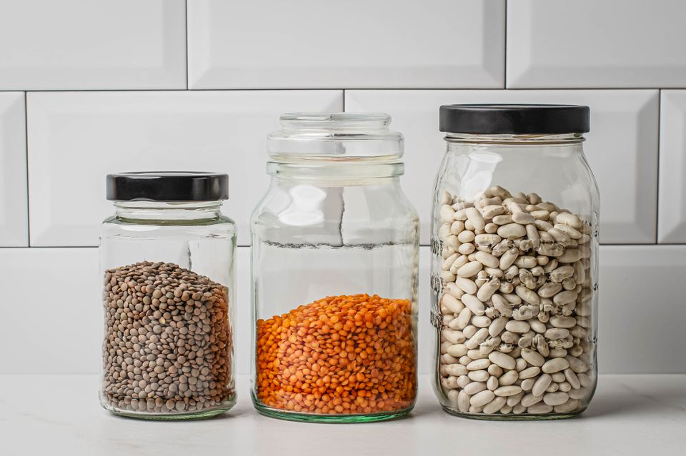 Glass Jars Filled With Beans
