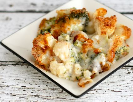 Broccoli and Cauliflower Casserole with Parmesan Crumb Topping