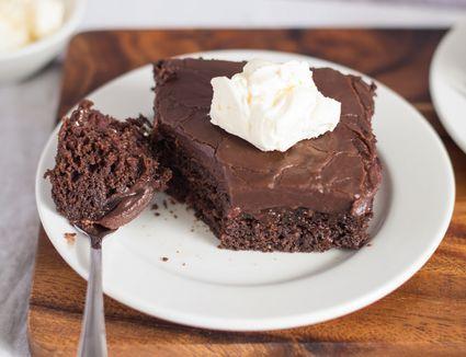 Chocolate fudge cherry cake on a plate