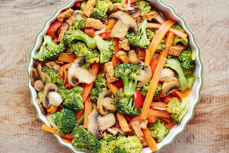 Broccoli, carrot, mushroom stir fry with tofu