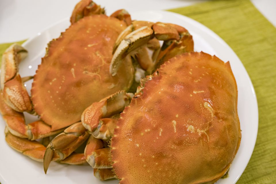Fresh Steamed Crab on the Table