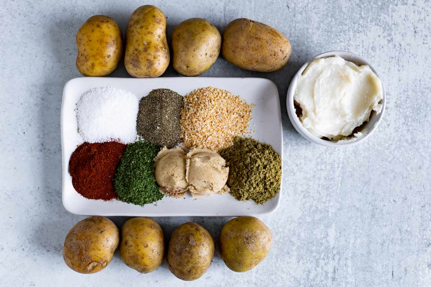 Ingredients for BBQ smoked baked potatoes