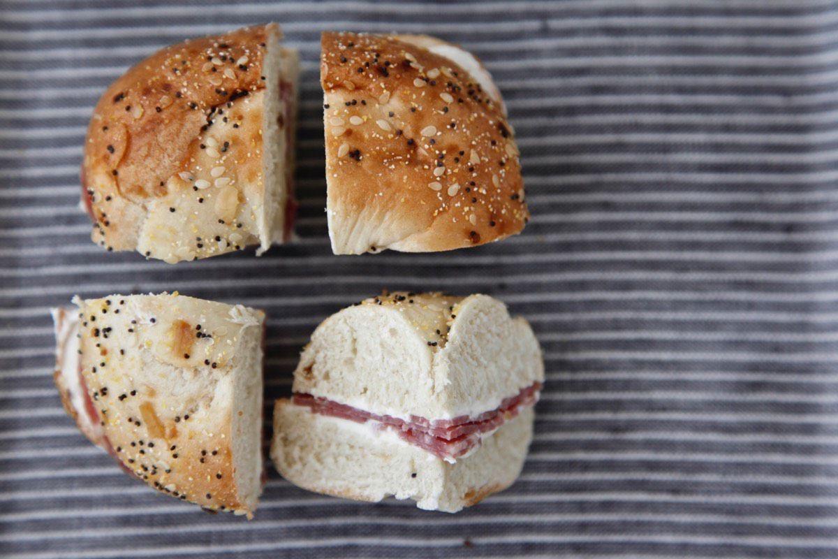 Salami Cream Cheese Bagel