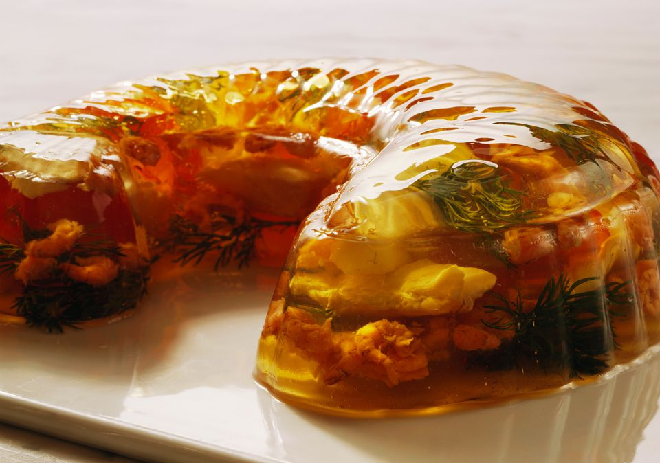 Seafood aspic with vegetables