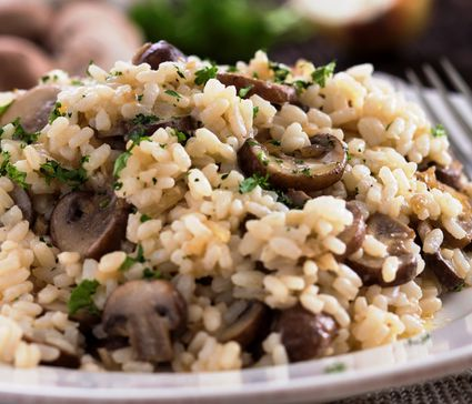 Vegetarian mushroom risotto with white wine, butter and cream