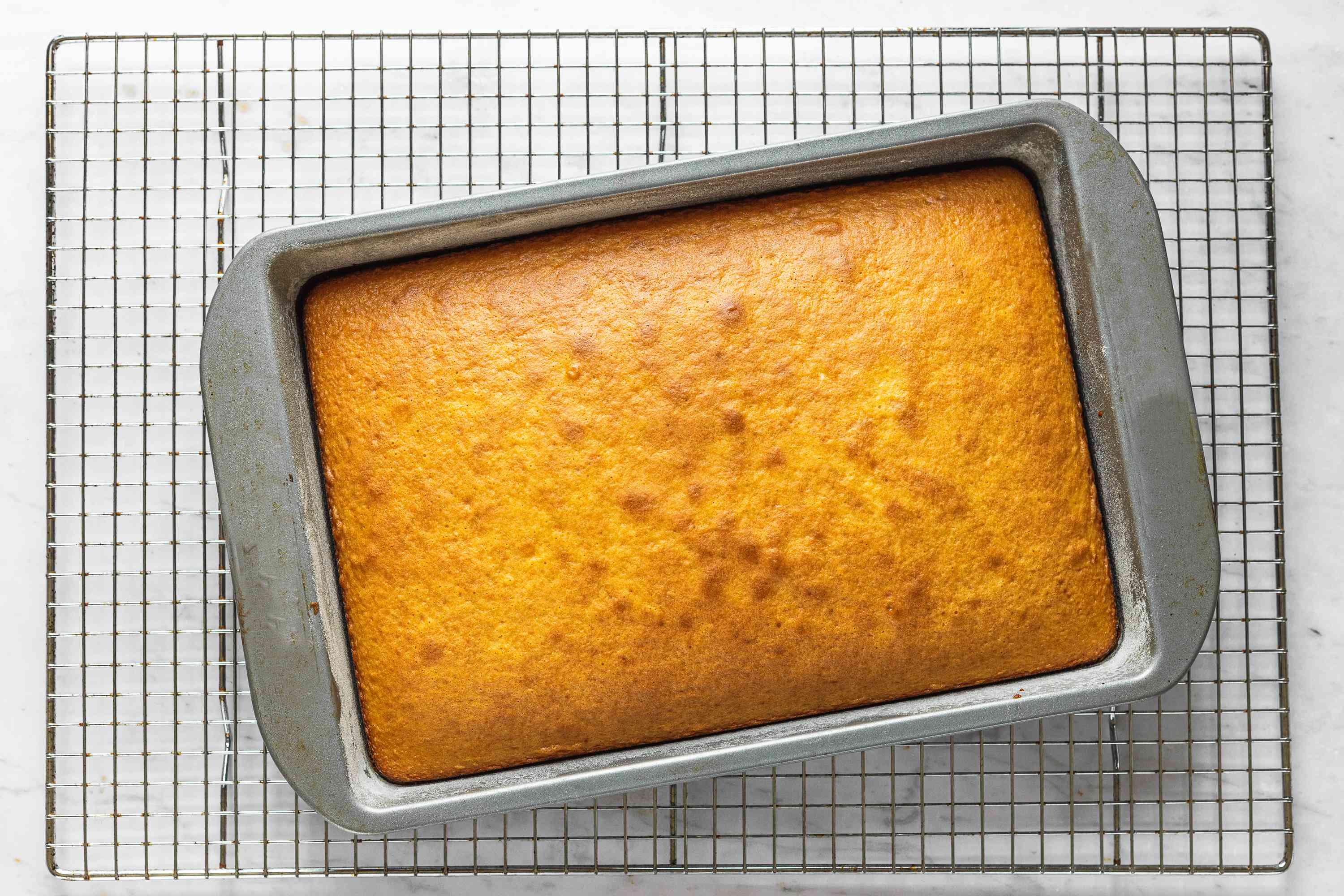 Baked cake in a baking dish, on a cooling rack