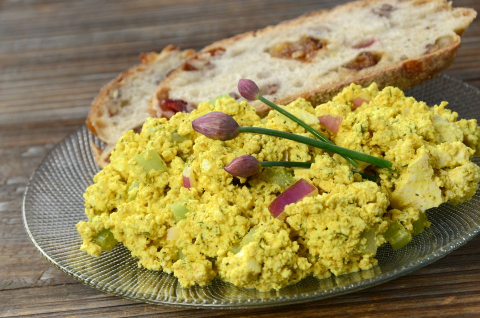 "A plate of ""tofu"" egg salad"