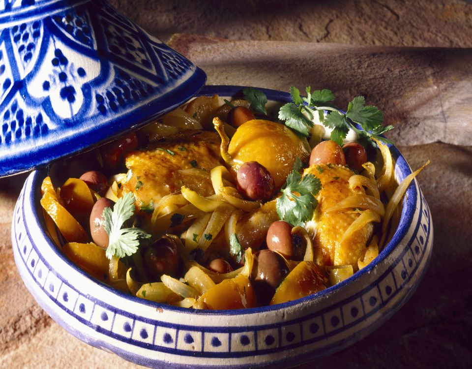 Chicken with olives in a tagine