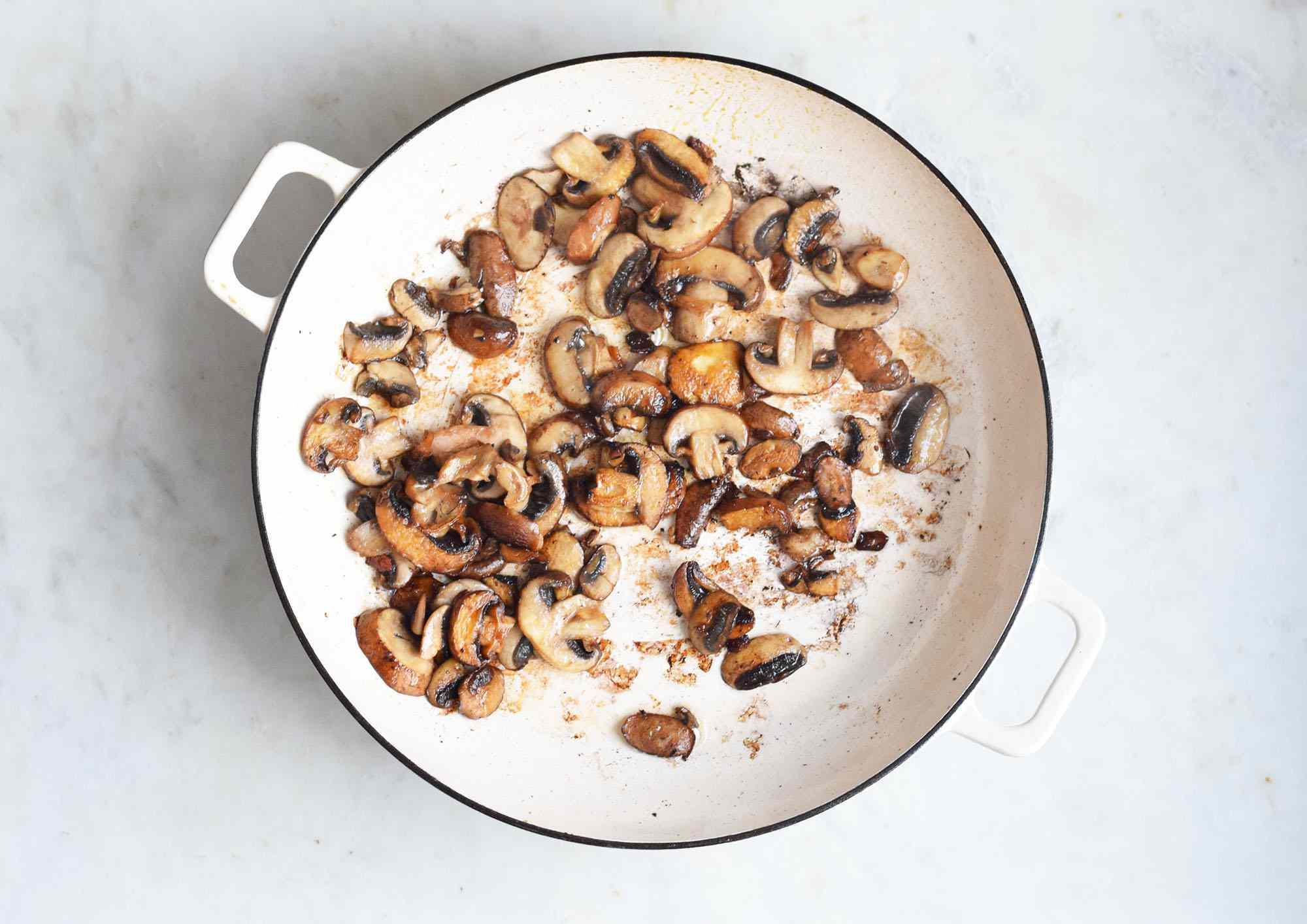 mushrooms cooked in a pan