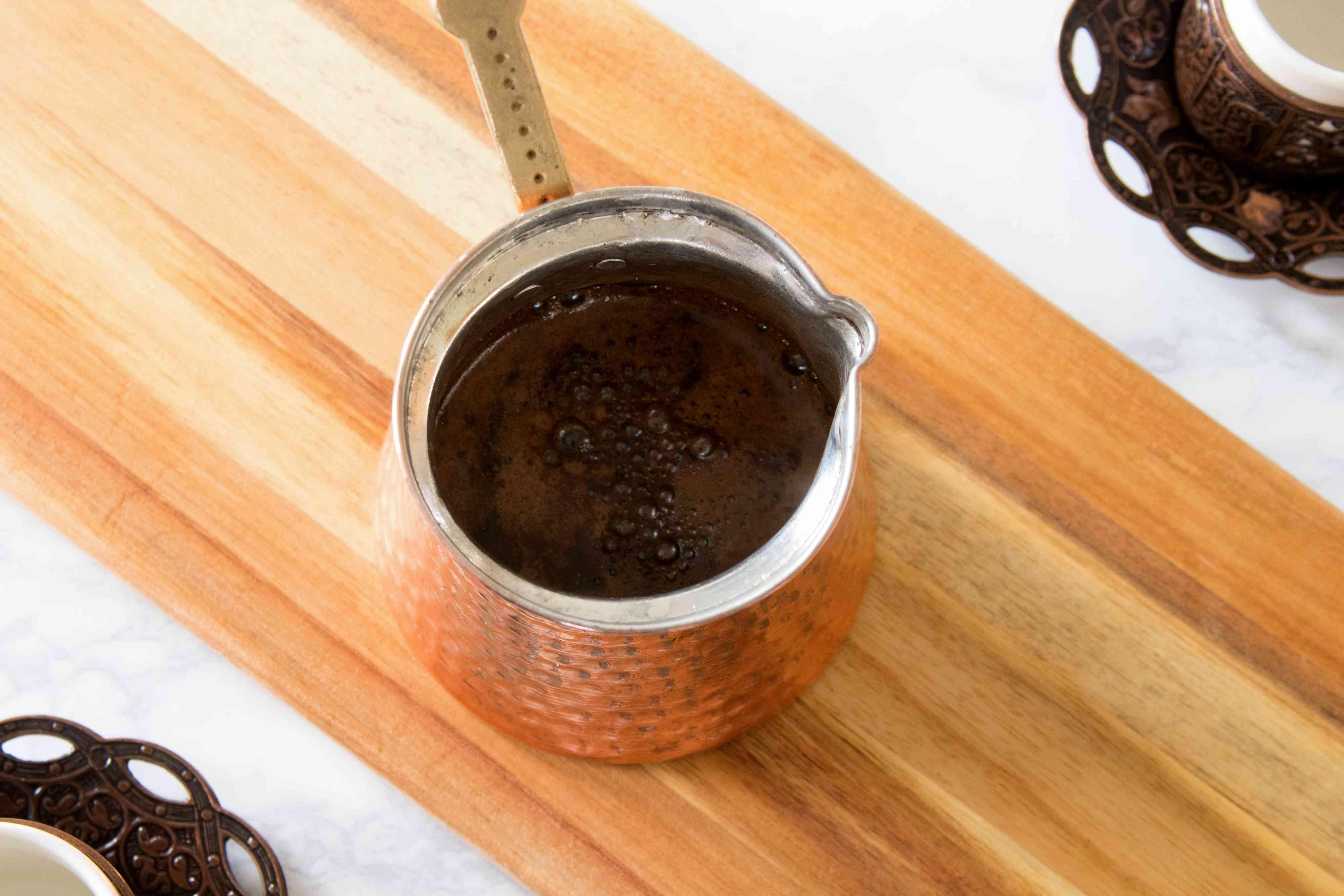 Brewing Turkish Coffee in a Cezve or Ibrik