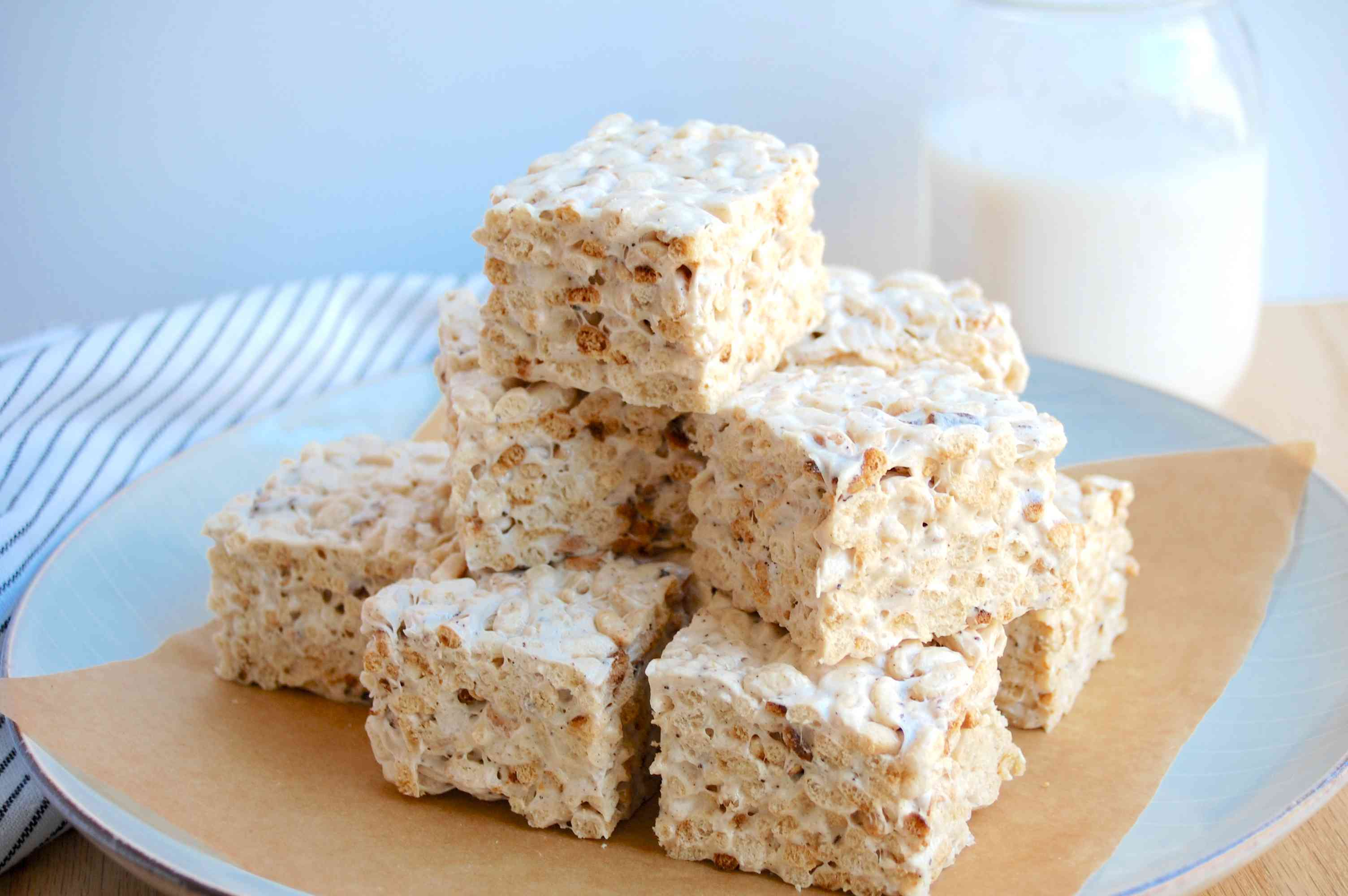 Brown butter Rice Krispie treats on a serving plate