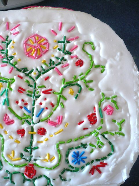 Embroidery with sprinkles