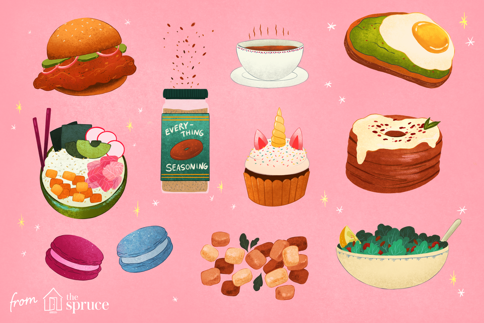 illustration of the top foods of the 2010s
