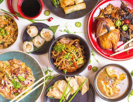Chinese noodles, fried rice, dumplings, peking duck, dim sum, spring rolls