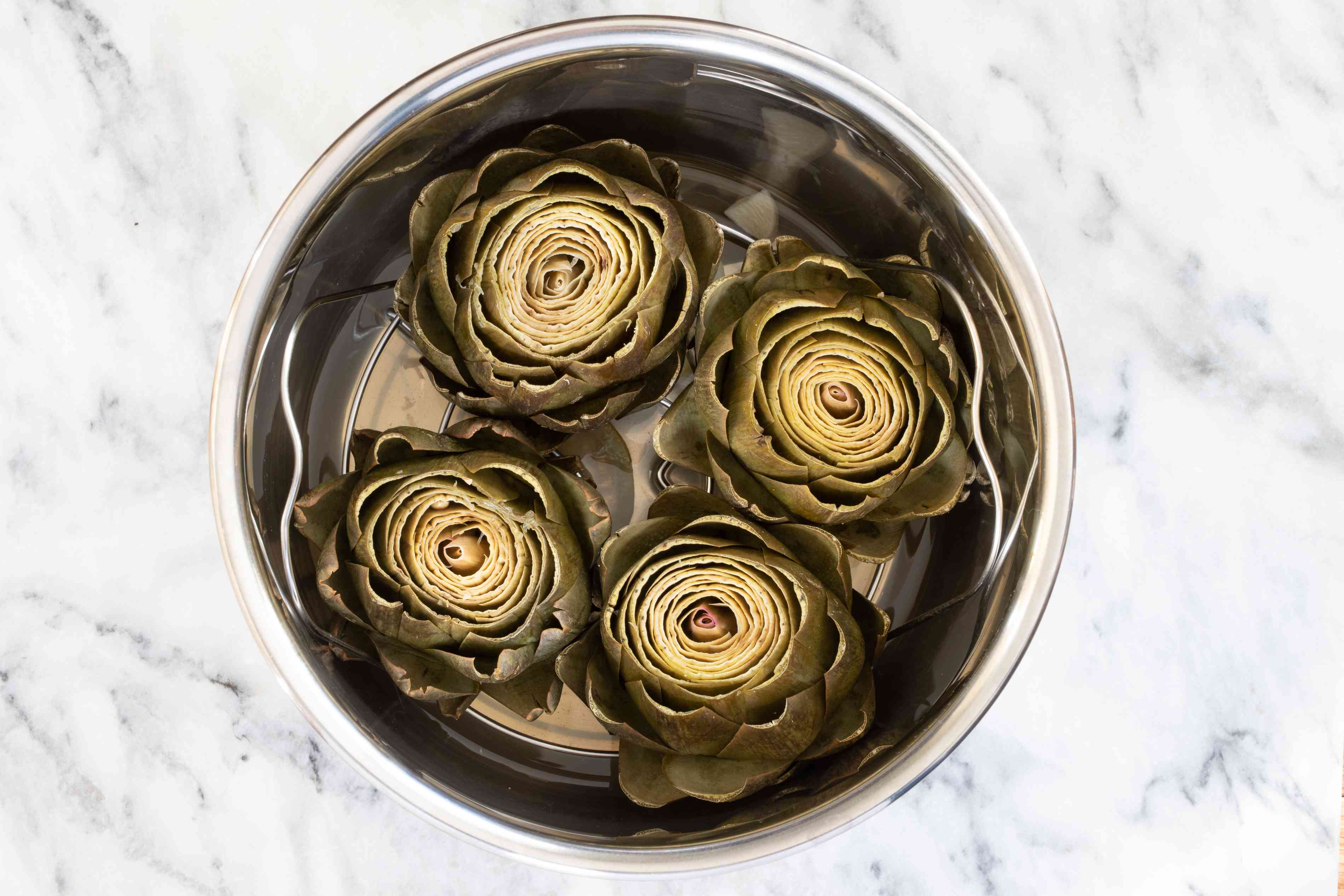 cooked artichokes in the instant pot