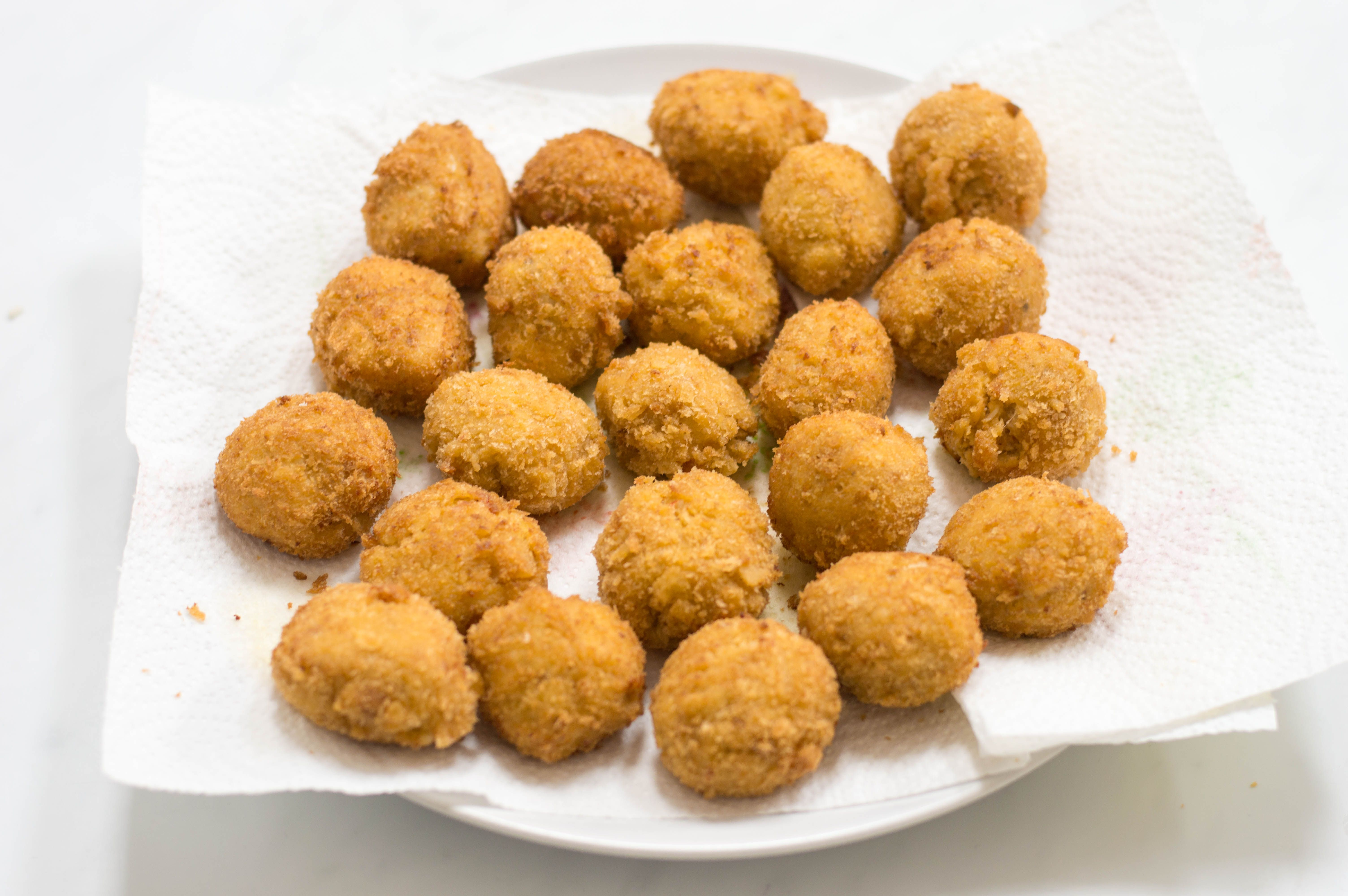 Remove crab balls with a slotted spoon