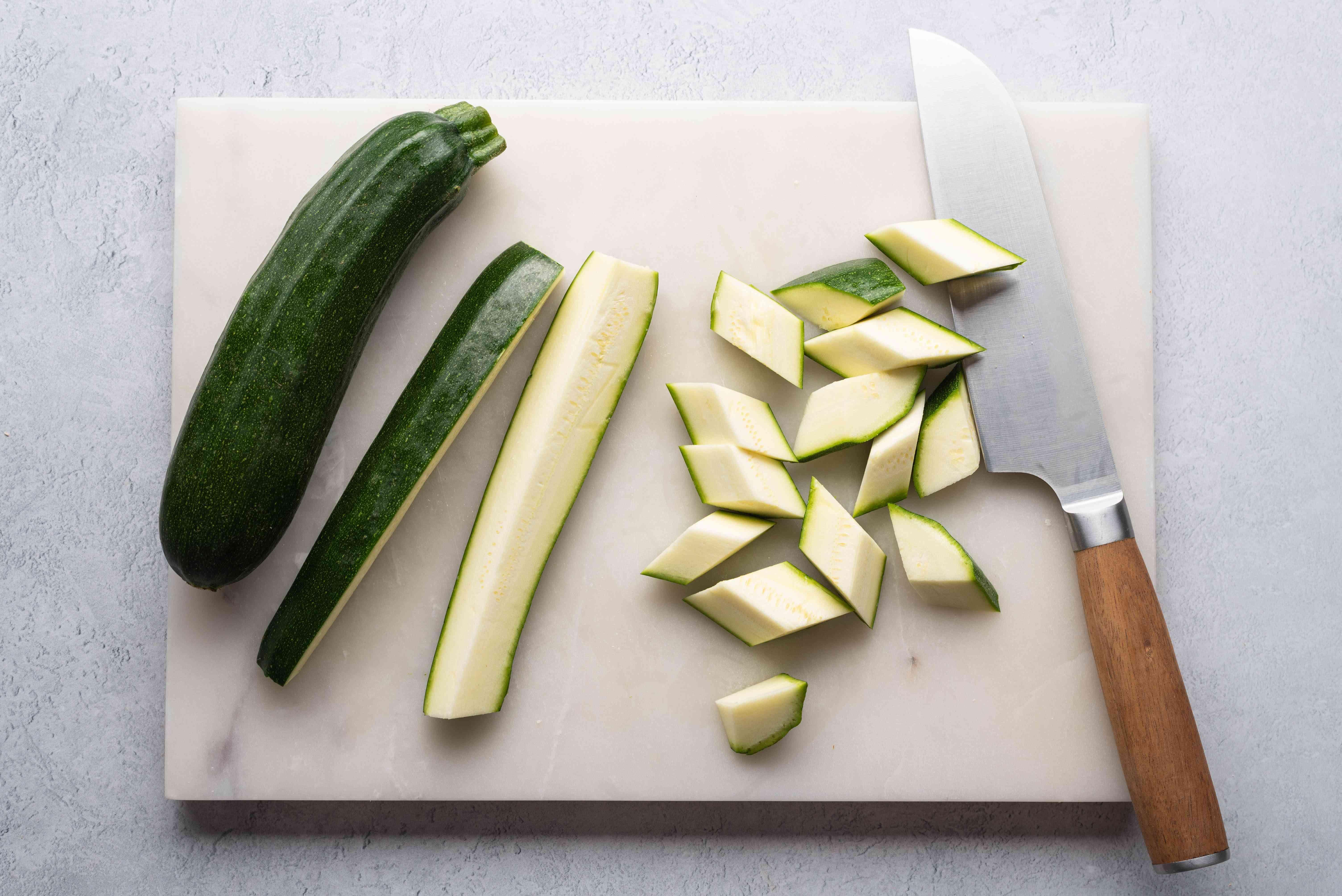 Zucchini cut into pieces