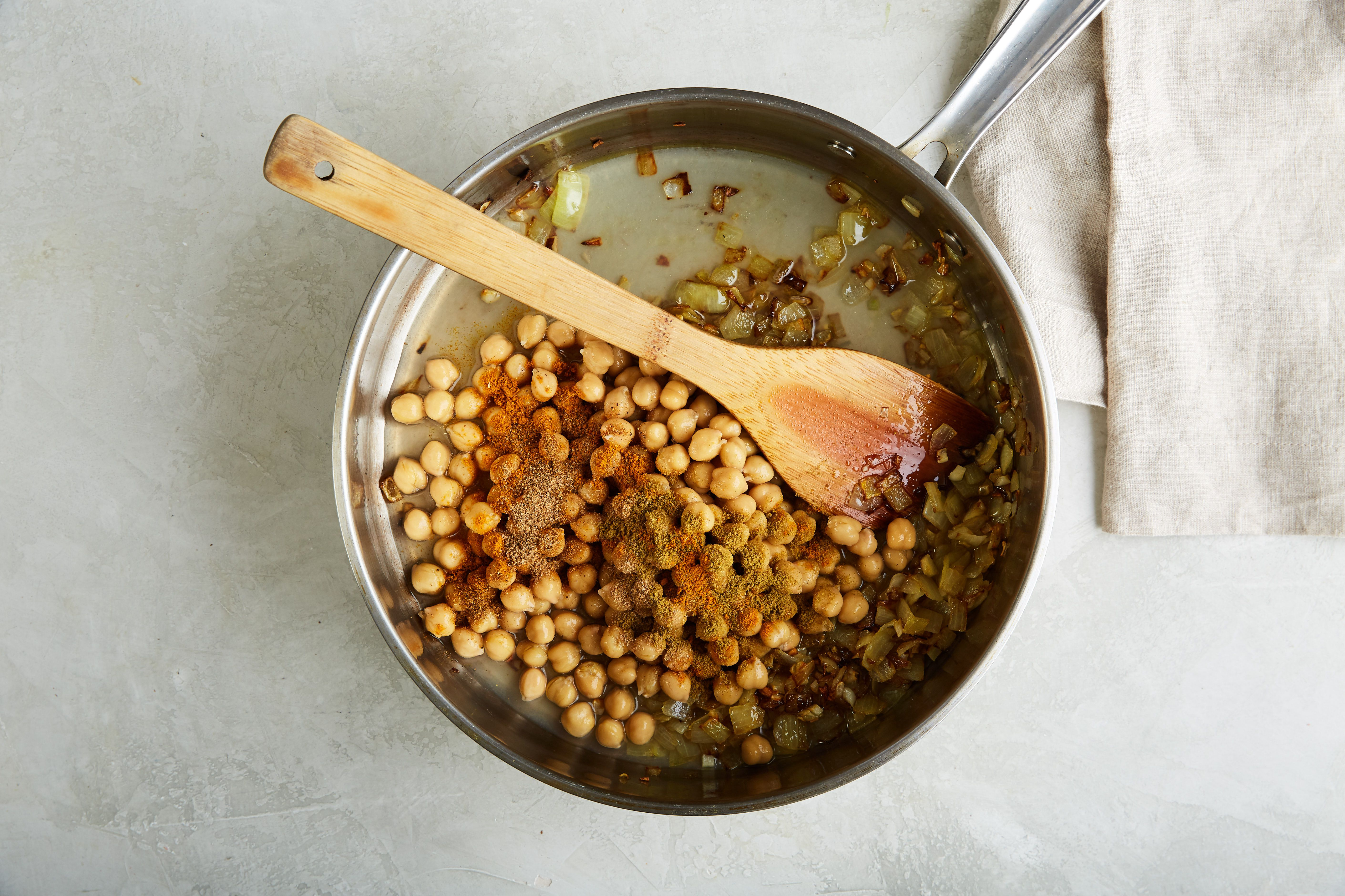 Chickpeas in pan