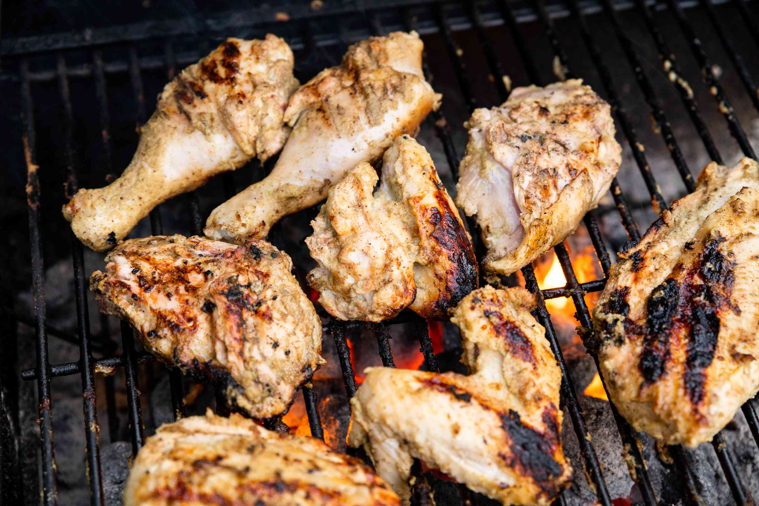 Authentic Jamaican Jerk Chicken on the grill