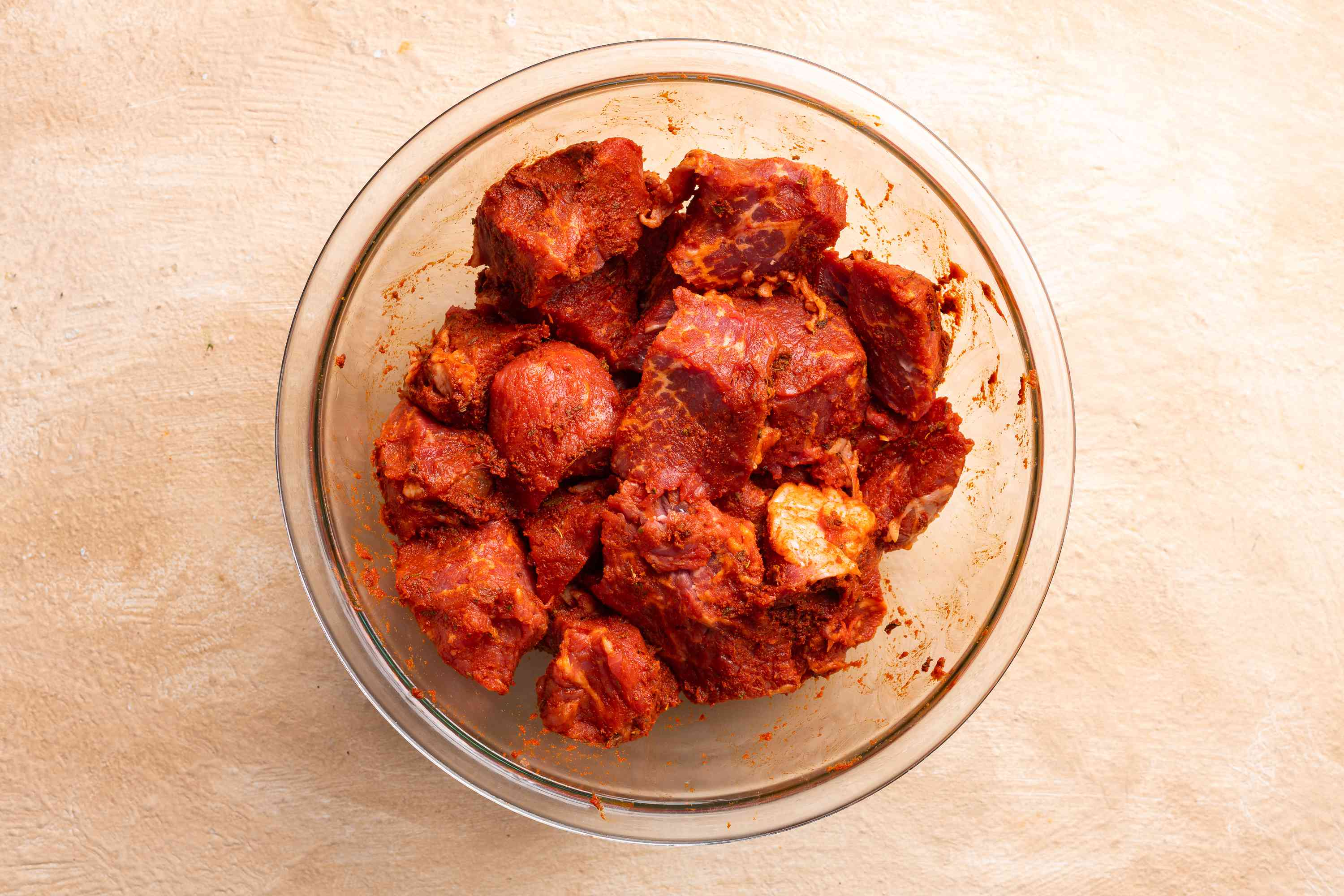 beef with marinade in a bowl