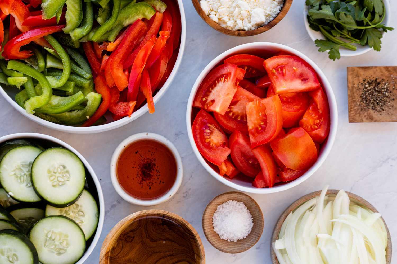 Shopska Salata Bulgarian Tomato Salad ingredients