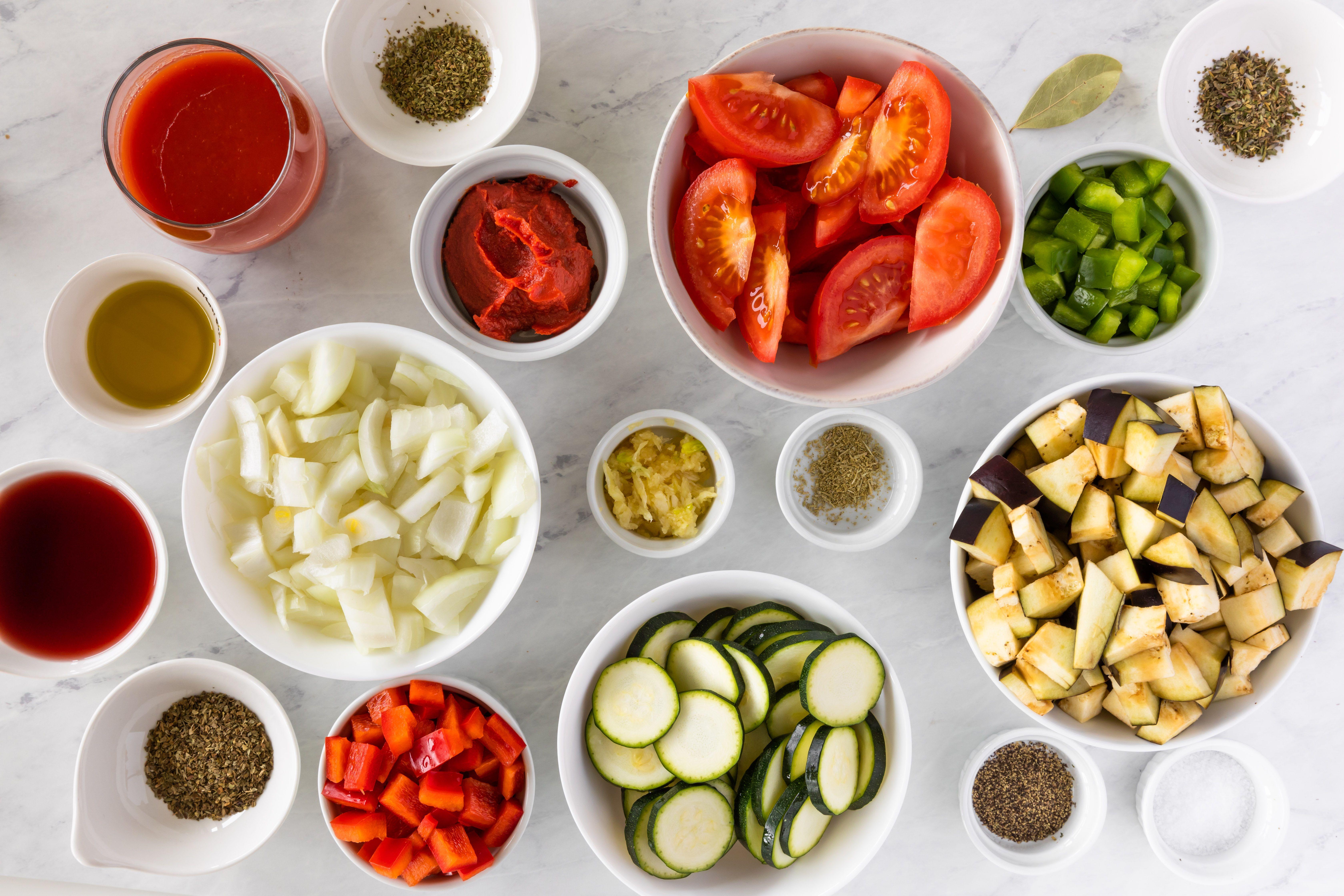 Ingredients for vegan ratatouille