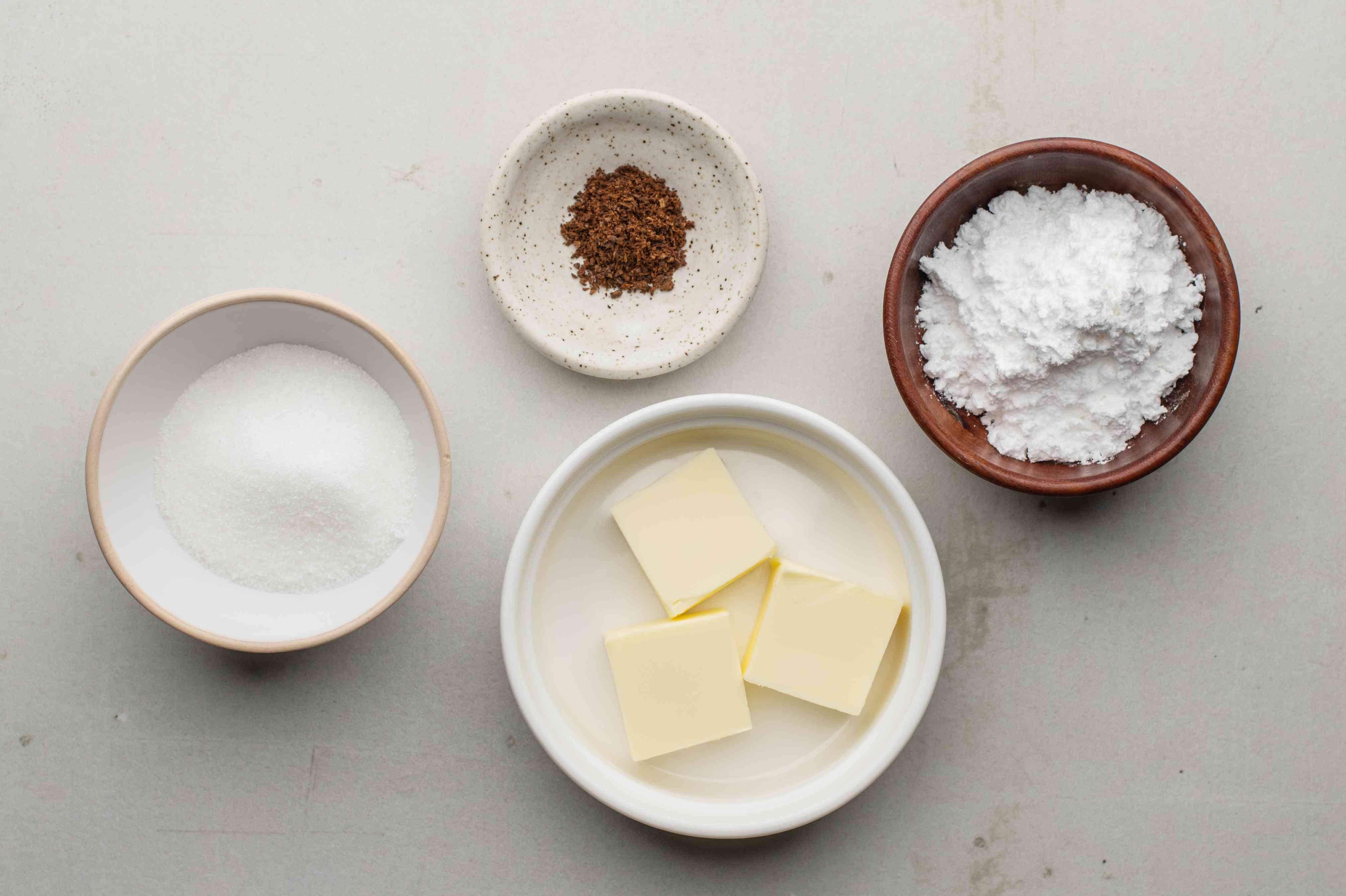 Butter, salt, cocoa, and flour