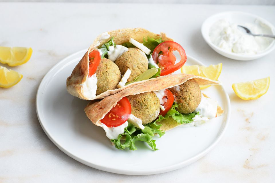 air fryer falafel in a pita
