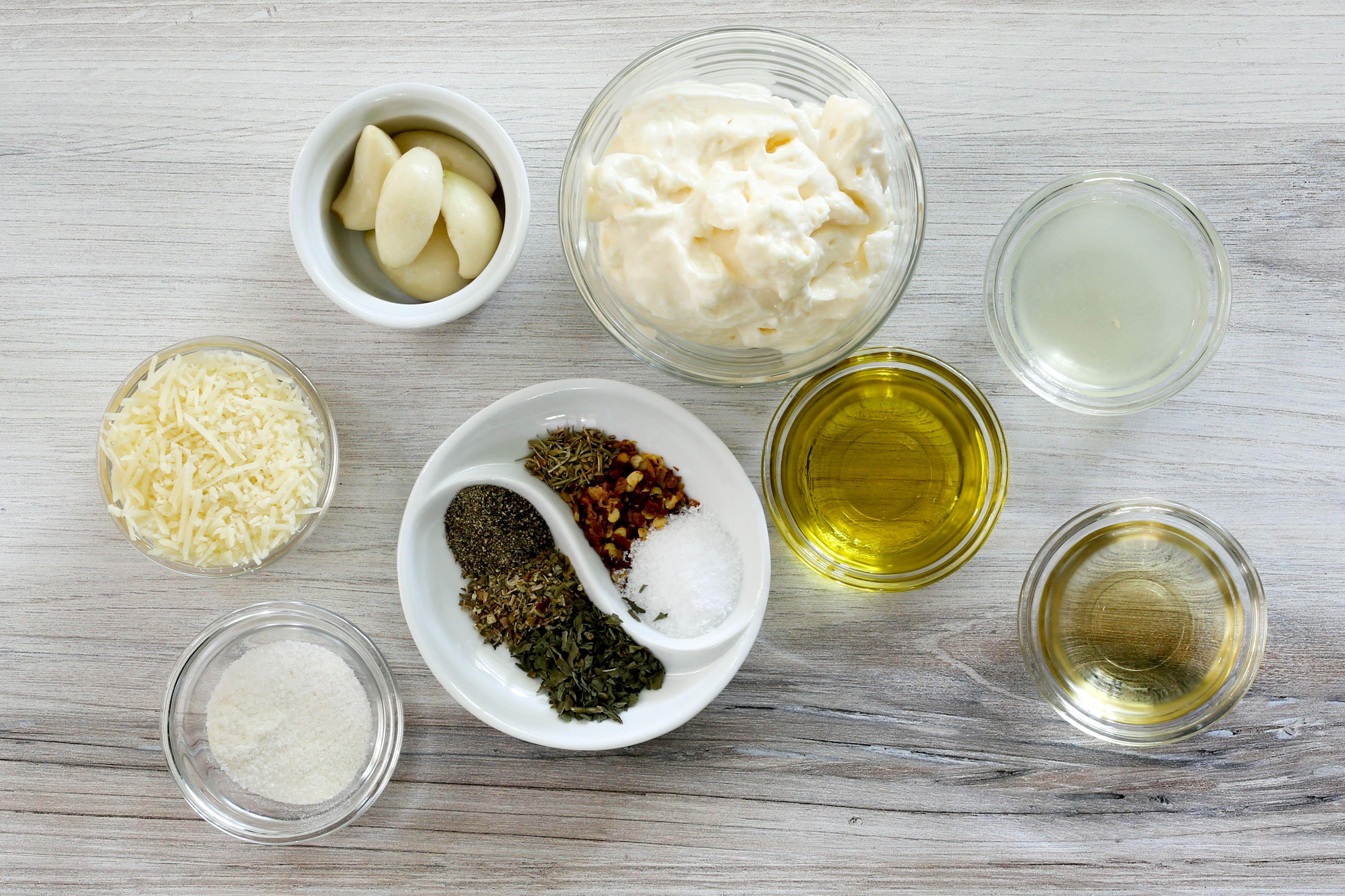 Ingredients for garlic Parmesan sauce