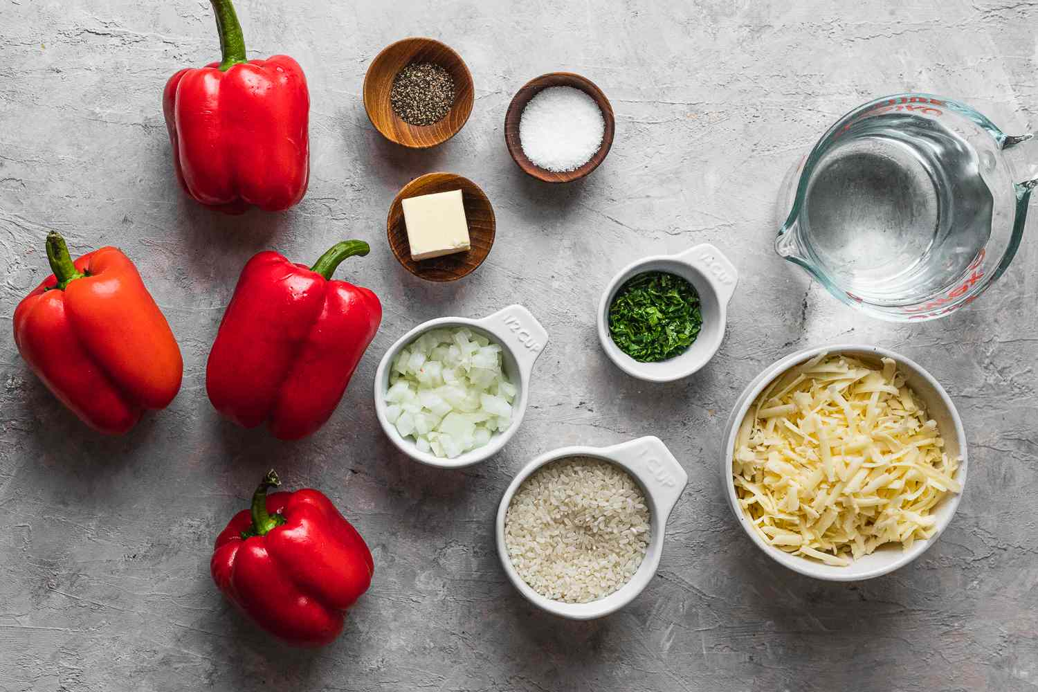 Vegetarian Rice and Cheddar Stuffed Peppers ingredients