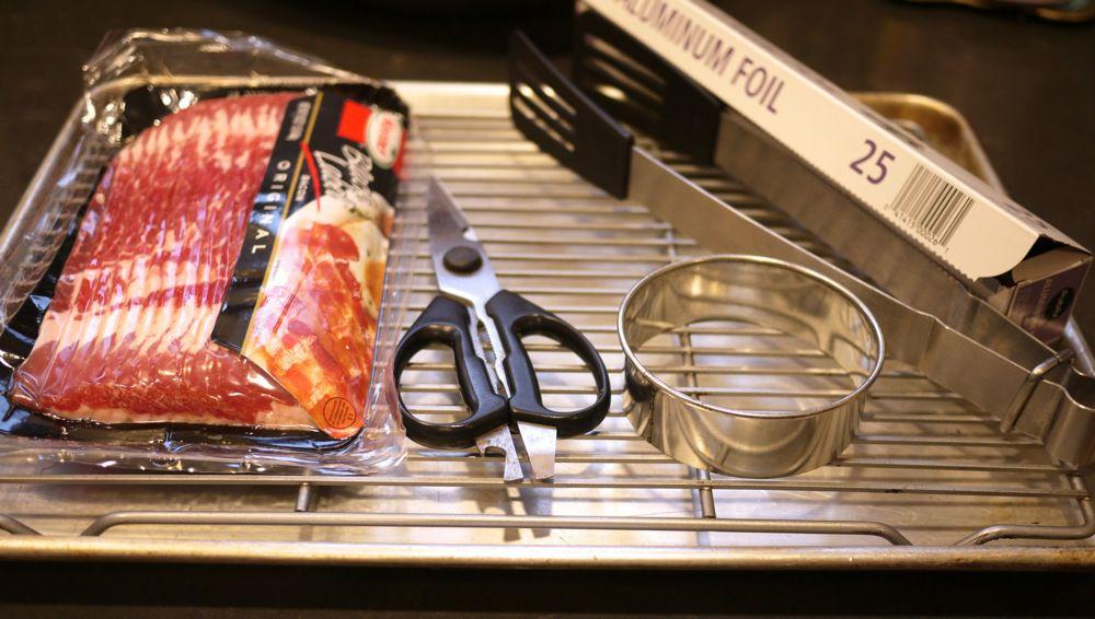 Tools to make a bacon lattice patty