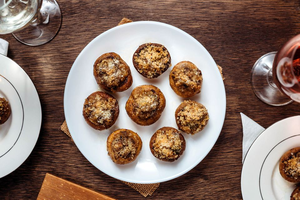 Parmesan stuffed mushrooms on a plate