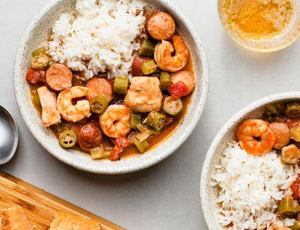 Crock Pot Chicken, Sausage, and Shrimp Gumbo
