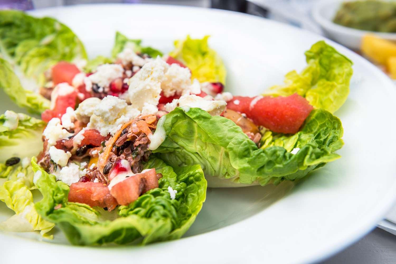 Salad from Quinoa, Black Barley, Watermelon and Feta