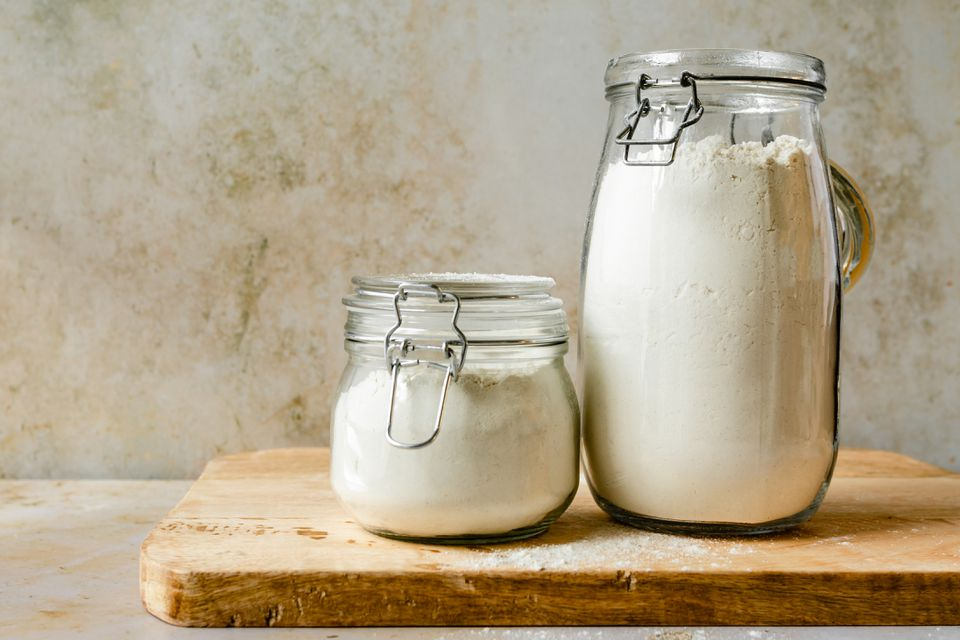 Flour stored in glass jars