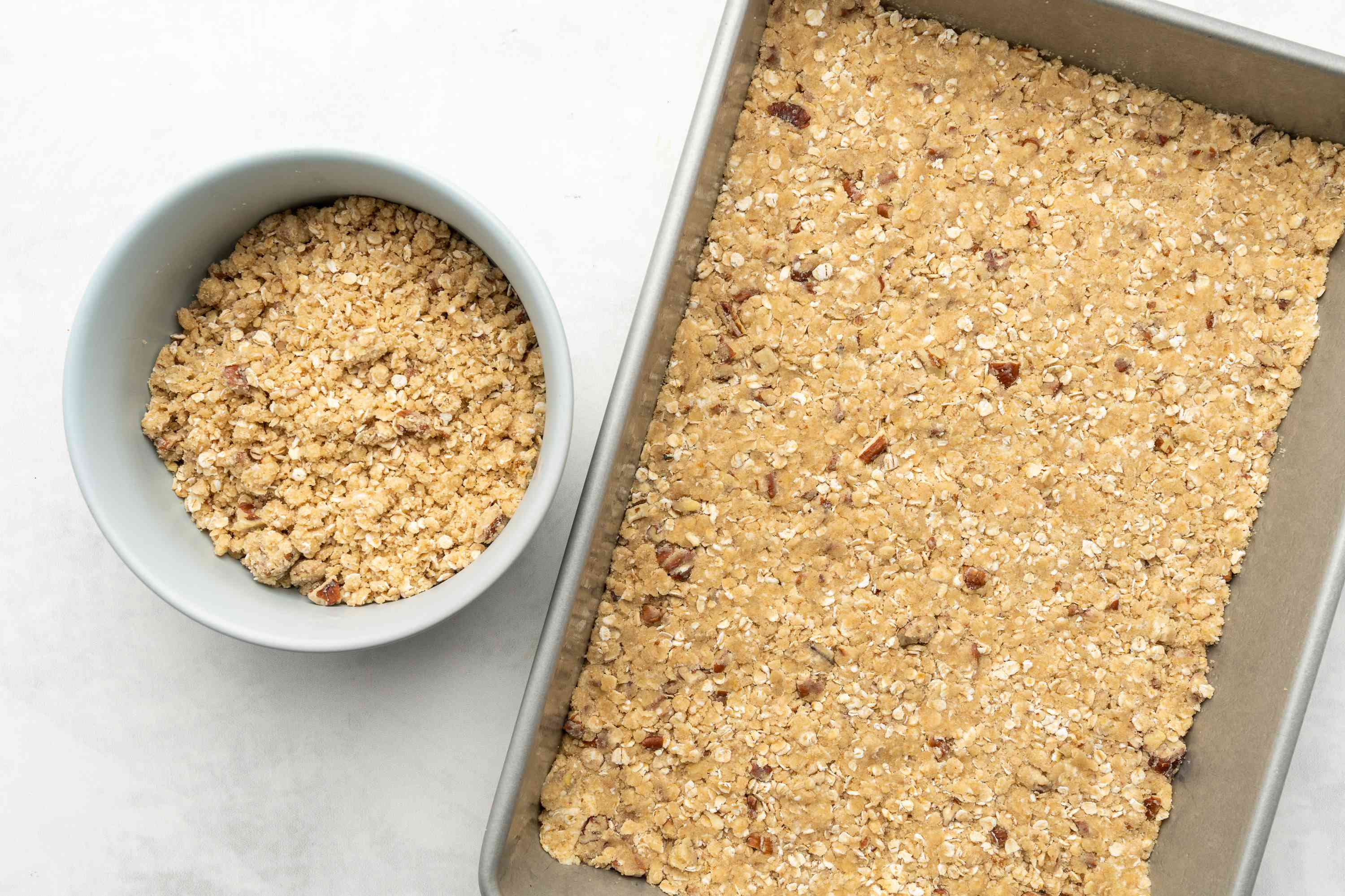 crumble in a baking pan