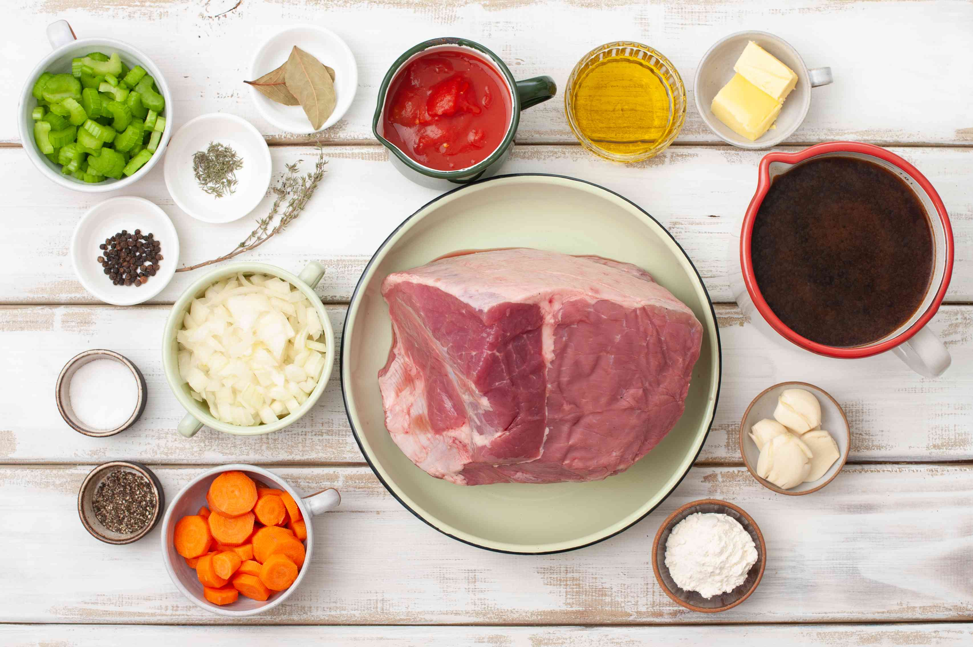Ingredients for classic beef pot roast