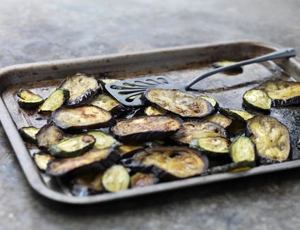 Broiled eggplant on a sheet pan