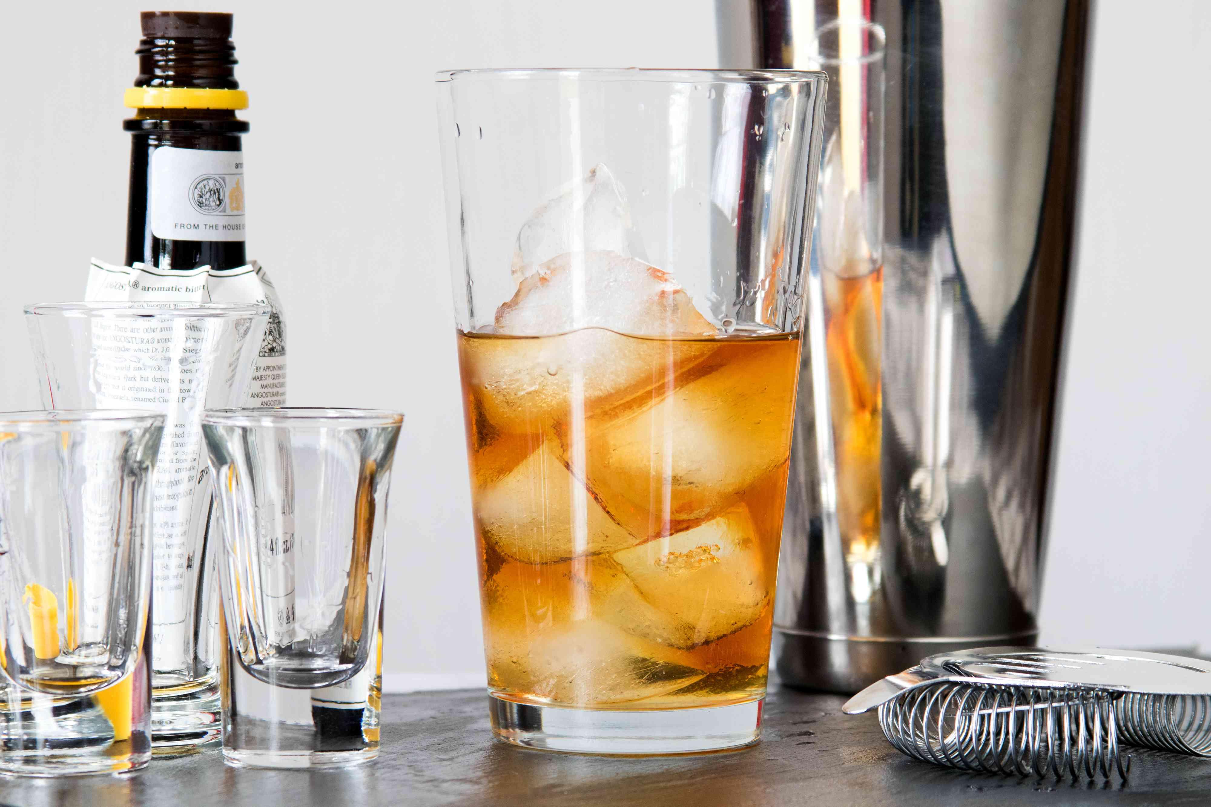 Mixing a Classic Brandy Metropolitan Cocktail