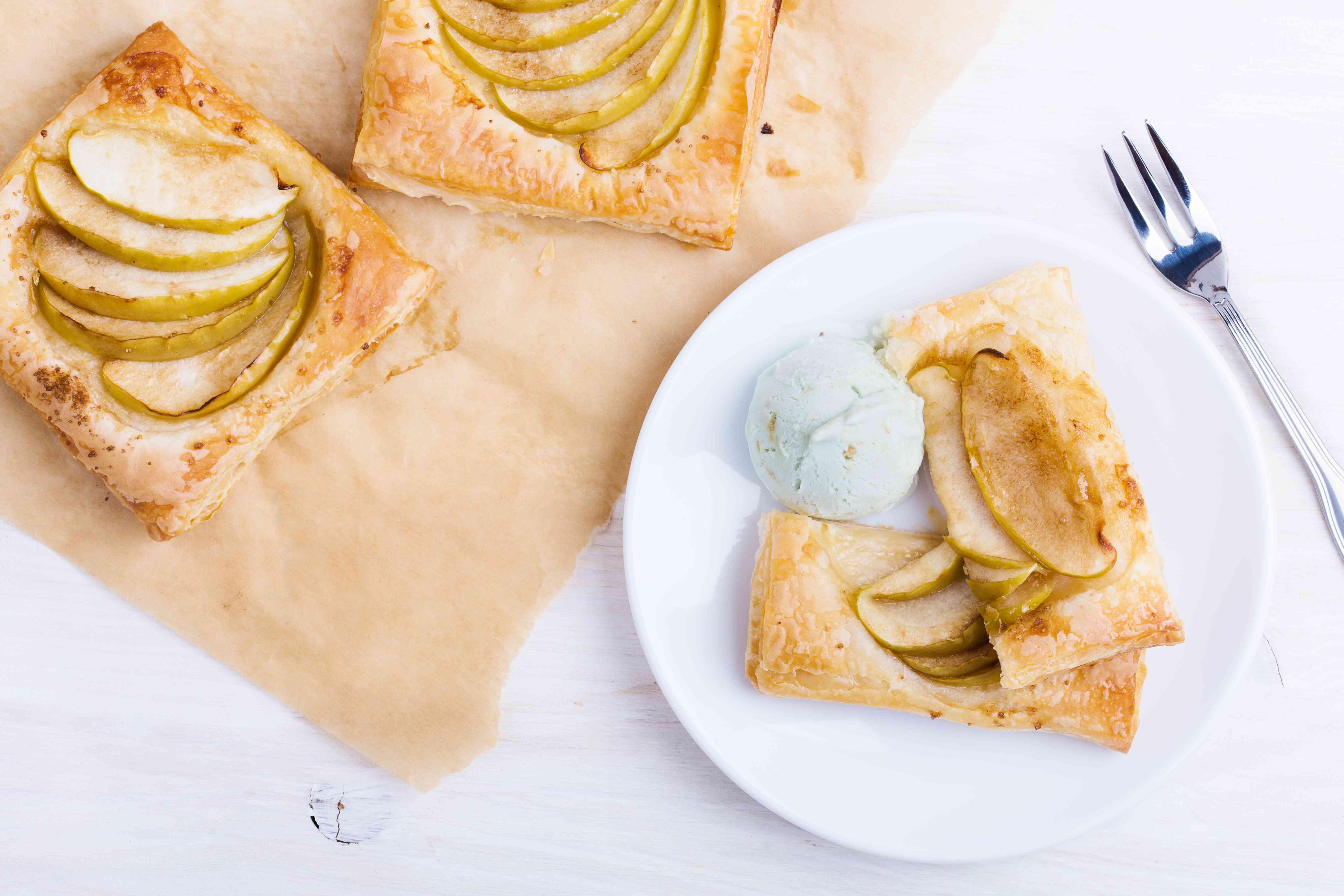 Homemade puffed pastry apple tart with ice cream