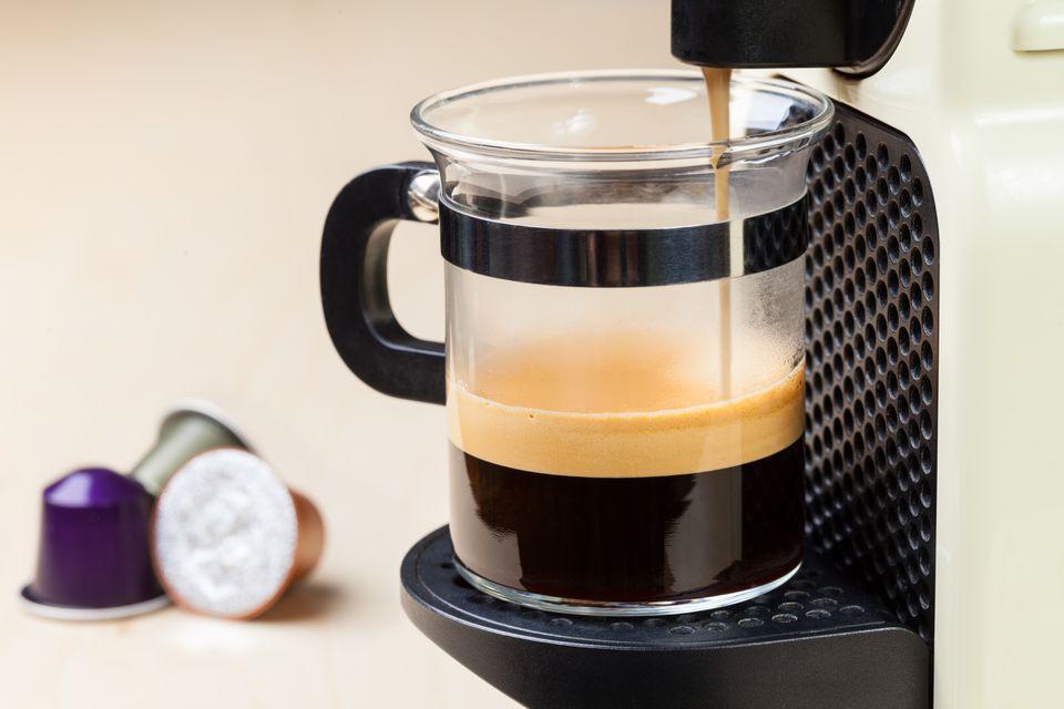 Coffeemaker brewing espresso coffee