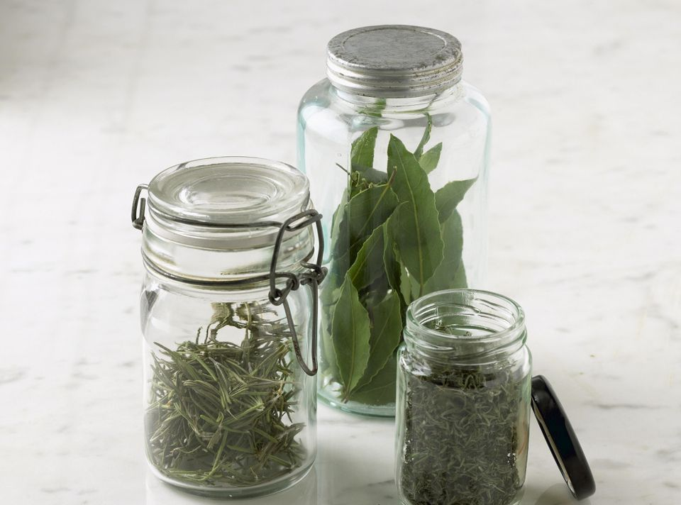 Dried Herbs in bottles