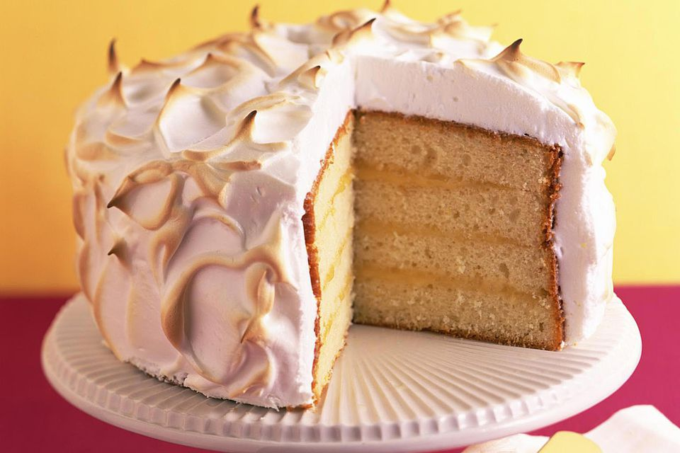 Layer cake with meringue frosting